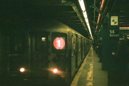 1-Train heading northbound at the 14th Street Station