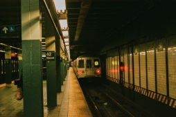 R-Train heading southbound from Times Sq/42nd Street Station