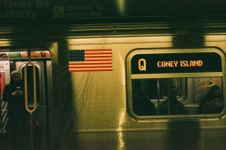 Q-Train heading southbound at Times Sq/42nd Street Station